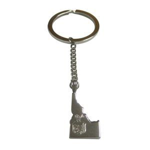 Idaho State Map Shape and Flag Design Keychain